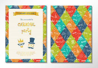 Carnival Party card - multicoloured two sided invitation. Vector.