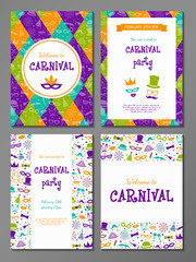 Layout of Carnival Party card - big set with colourful flyers. Vector.