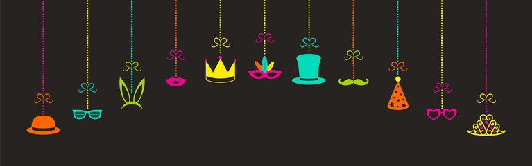 Panoramic banner with hanging icons for carnival, photo booth and birthday party. Vector.