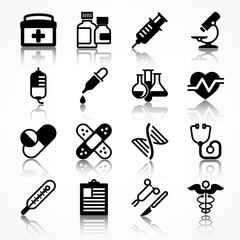 Set of medical icons on white shadow, medicine symbols in black.