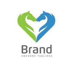 creative Horses love logo concept. unique Horses care logo concept. Vector illustration. Love for Horses logo