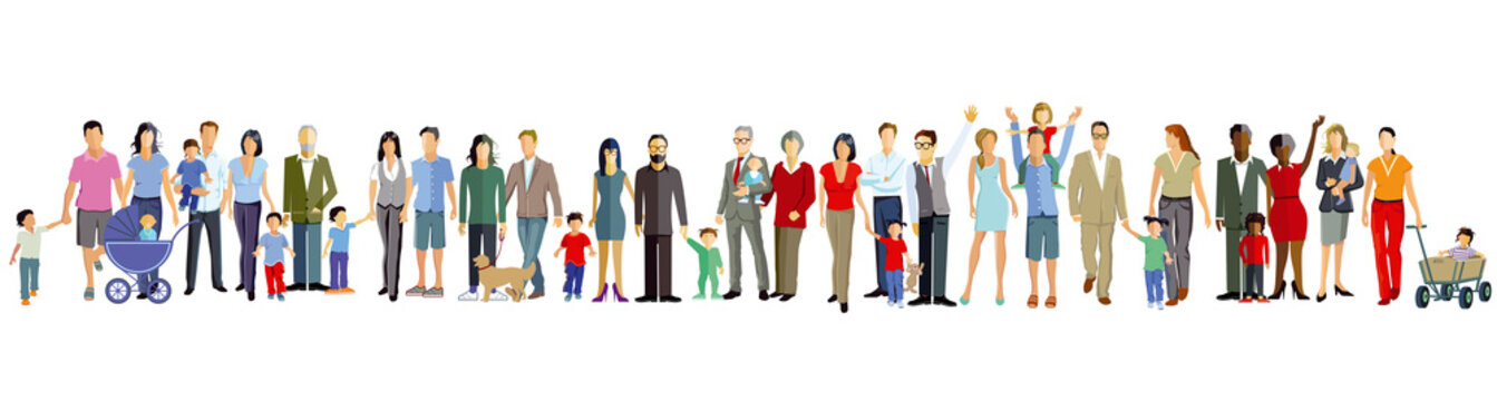 Familien und Generation stehen zusammen, illustration