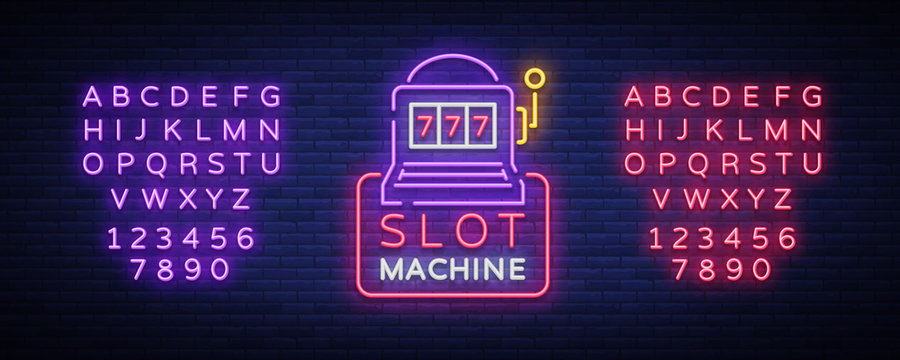 Slot machine logo in neon style. Neon sign, bright luminous banner, night billboard, bright nightly advertising of casinos, gaming machines and gambling. Vector illustration. Editing text neon sign