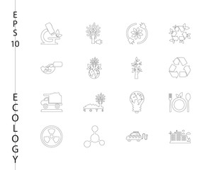 Green, Ecology and environment icon set in vector format. 16 icons in thin line sets