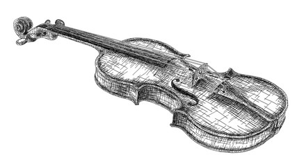 Vector illustration drawing of violin.
