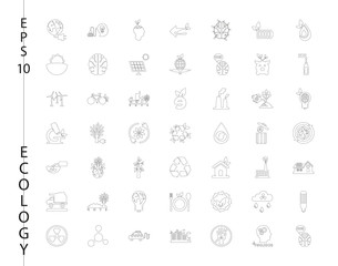 Green, Ecology and environment icon set in vector format. 49 icons in thin line sets