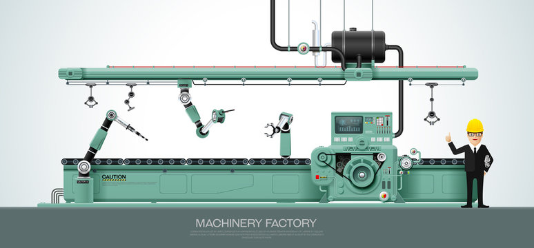 Industrial machine Factory construction equipment engineering vector illustration