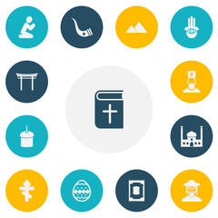 Set of 13 editable dyne icons. Includes symbols such as easter cake, praying man, tobacco pipe and more. Can be used for web, mobile, UI and infographic design.