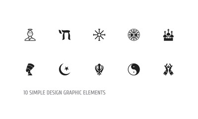 Set of 10 editable faith icons. Includes symbols such as tribal mask, cherub, candlestick. Can be used for web, mobile, UI and infographic design.