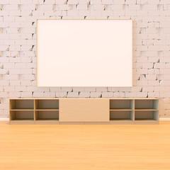 Mock up empty room Brick wall 3D rendering