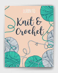 Vector yarn balls  book cover, mock up for knit and crochet classes poster or advertisement. Hand drawn illustration for brochure, poster or cover design. Made using clipping mask
