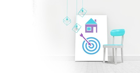 Business target and arrow with house icon on white board with