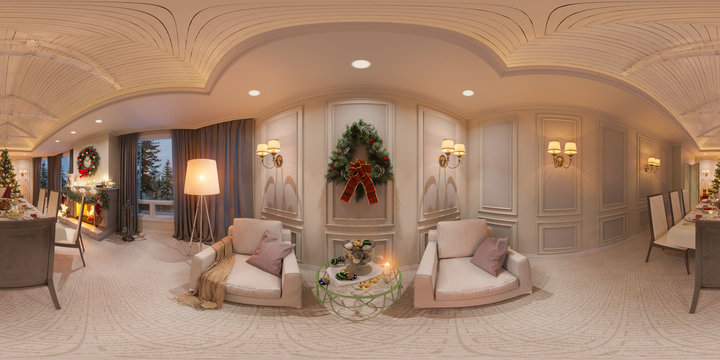 Christmas interior with a fireplace. 3d illustration of an interior design in a classic style with Christmas tree, presents and decor. Seamless 360 panorama for virtual reality and virtual 3D tours