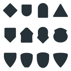 set of black badge shape
