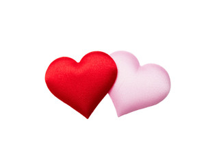 Colorful mini hearts isolated on white background, Valentine decorations, Various hearts, Clipping path