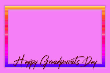Hand-painted Happy Grandparents Day lettering surrounded by a colorful (rainbow) frame on a pink background