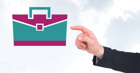 Hand pointing with briefcase icon