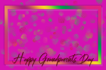Hand-painted Happy Grandparents Day lettering surrounded by a colorful (rainbow) frame on a pink background with paint packs made with a brush