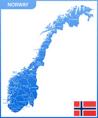 The detailed map of the Norway with regions or states and cities, capitals, national flag