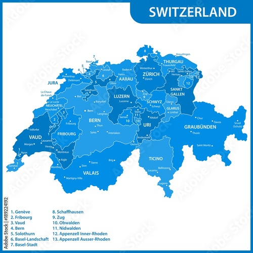 The detailed map of the Switzerland with regions or states and ...
