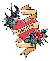 Isolated tattoo red heart with ribbon, swallow, flowers and word Mother. Vector illustration for Mother Day. Old school