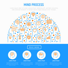 Mind process concept in half circle with thin line icons: intelligence, passion, conflict, innovation, time management, exploration, education, logical thinking. Vector illustration, web page template