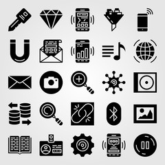 Essentials icon set vector. database, button, worldwide and search