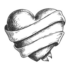 Hand drawn heart with ribbon, black and white draft sketch isolated on white background. Vintage vector etching illustration.