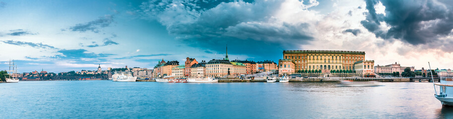 Embankment In Old Part Of Stockholm At Summer Evening, Sweden.