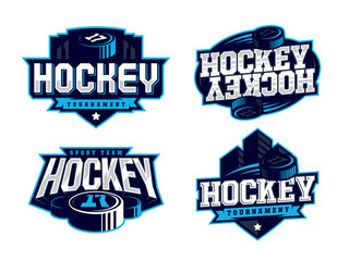 Modern professional hockey logo set for sport team