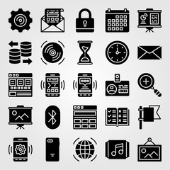 Essentials icon set vector. mail, database, calendar and hourglass