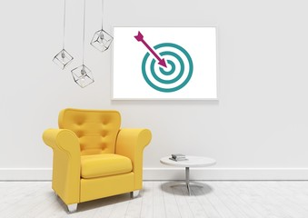 Business target and arrow on white board in room
