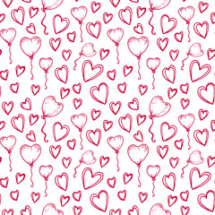 Vector seamless pattern in sketch style for Valentine's Day. Arrows, ballons and hearts in red. Valentine's day, wedding, love, romantic events. Doodle style seamless vector pattern.