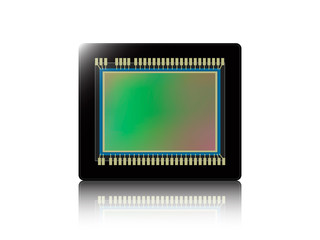 digital camera sensor with reflection on white isolated background. Vector illustration