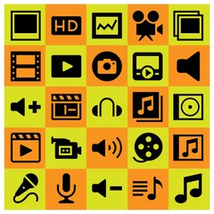 Multimedia icon set vector. microphone, video camera, musical note and analytics
