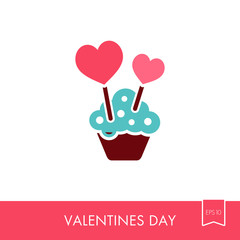 Cupcake with two hearts icon