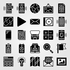 Essentials icon set vector. laptop, smartphone, letter and planet earth