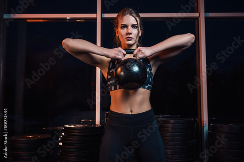 Attractive Young Athlete With Muscular Body Exercising Crossfit Woman In Sportswear Doing Workout