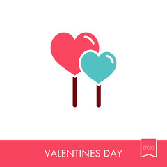Two red heart lollipops icon