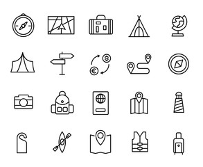 Simple collection of tourism related line icons.