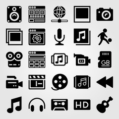 Multimedia icon set vector. rewind, guitar, sd card and video camera
