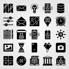 Essentials icon set vector. bank, broken link, laptop and smartphone