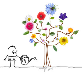 Cartoon Gardener Watering Flowering Tree
