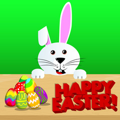 Easter bunny with Happy Easter text and colored eggs on a desk. Vector cartoon character illustration.