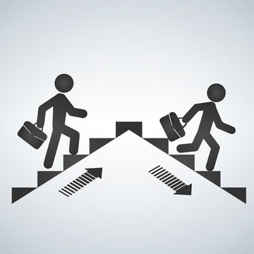 Man going up the stairs, man going down staircase symbol. Vector illustration.