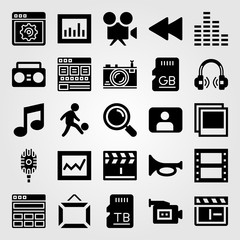 Multimedia icon set vector. analytics, microphone, sound bars and frame