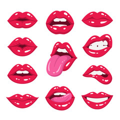 Red lips collection. Vector illustration of sexy woman's lips expressing different emotions, such as smile, kiss, half-open mouth, biting lip, lip licking, tongue out. Isolated on white.
