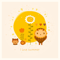 vector amusing summer card with owl, gopher, snail and flowers