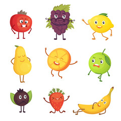Set of cute cartoon fruit. Vector illustration with funny characters. Funny fresh food time.