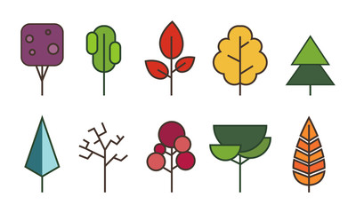 Tree flat style on white background color vector illustrator.